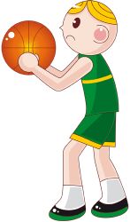 A basketball player is practicing the shot Game