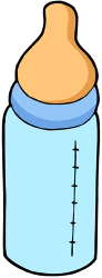A bottle with a teat for infants Game