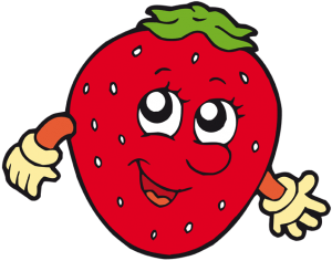 A strawberry with face and arms Game