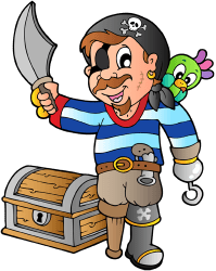 Armed pirate with treasure chest Game