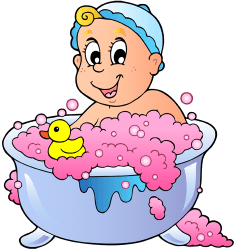 Baby's bath time with a rubber duck Game