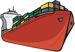 Cargo ship transporting containers. Freighter Game