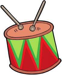 Drum beaten with a pair of drumsticks Game
