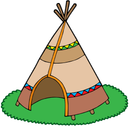 Indian Tipi, conical tent of a camp Game