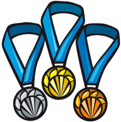 Medals for the top three finishers Game
