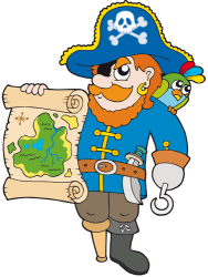 Pirate Captain with the treasure map Game