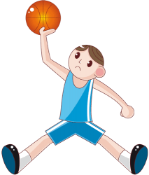 Player in a jump with ball and open legs Game