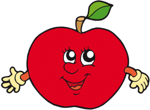 Red apple with face and arms Game