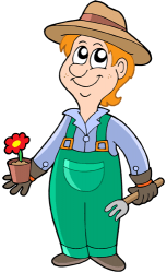 The gardener works with flowers, plants, trees Game