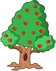 Tree with fruits at summer Game