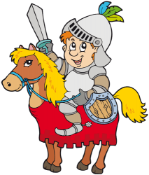 Warrior with armour and sword on horseback Game