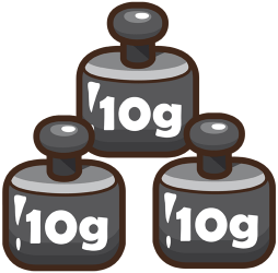 Weights of ten grams to equilibrate the balance Game