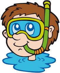 Young boy with a diving mask in the water Game