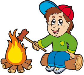 Young camper with a sausage in the camp fire Game