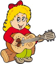 Young girl playing the guitar Game