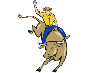 A cowboy at a rodeo, a cowboy on a bull Game