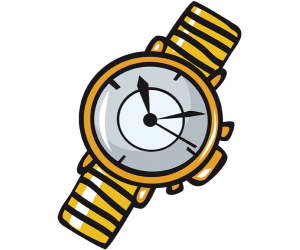 A golden analog watch Game