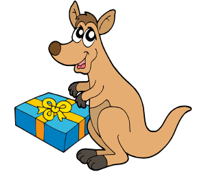 A happy kangaroo with his gift of Christmas Game