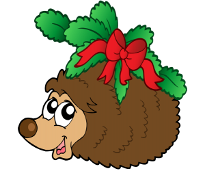A hedgehog with a Christmas decoration Game