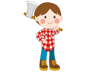 A lumberjack with the ax in the forest Game