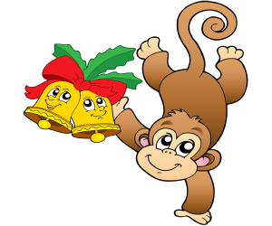 A monkey with two Christmas bells Game