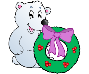 A polar bear and a Christmas wreath Game