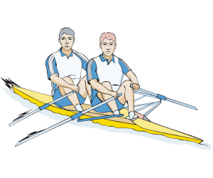 A rowing competition with two rowers. Regatta Game