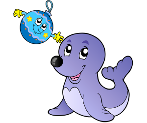 A seal playing with a Christmas ball Game