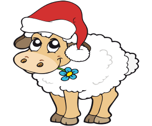 A sheep with the Santa Claus hat Game