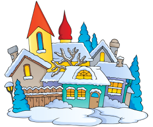 A snow-covered village, a Christmas landscape Game