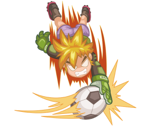 A soccer goalkeeper in a spectacular action Game