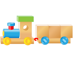 A train, a wooden toy Game