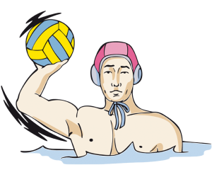 A water polo player with the ball in hand Game