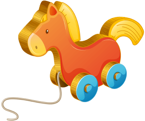 A wheeled horse, a pull toy Game