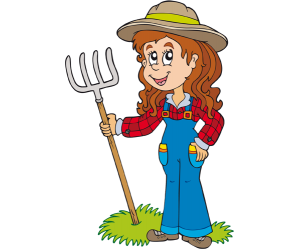 A woman farmer with a pitchfork Game