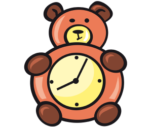 An alarm clock for children, a little bear Game