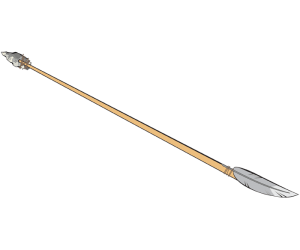 An arrow with stone tip, a prehistoric arrow Game