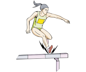 An athlete in a steeplechase race Game