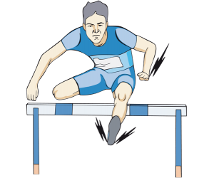 An athlete in hurdle jump. A hurdling competition Game