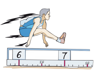 An athlete on flight in a long jump Game
