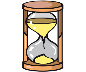 An hourglass, instrument for measuring time Game