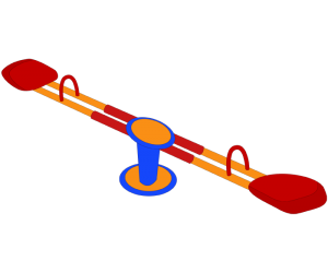 Classical seesaw, teeter-totter or teeter board Game