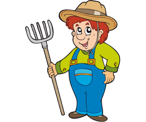 Farmer with a pitchfork, an agricultural tool Game