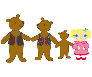 Goldilocks and the bear family, all together Game