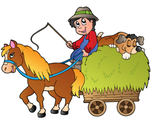 Hay cart with farmer, horse and dog Game
