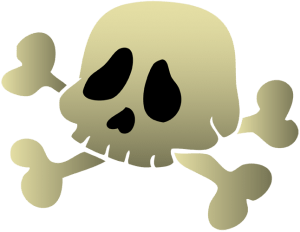 Human skull with other bones of the skeleton Game