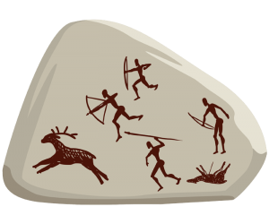 Hunting scene, example of cave painting Game