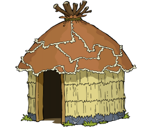 Hut of straw, traditional tribal house Game