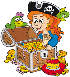Pirate young woman with the riches of the treasure Game