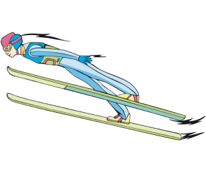 Ski jumping, a ski jumper in the flight Game
